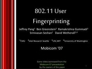 802.11 User  Fingerprinting