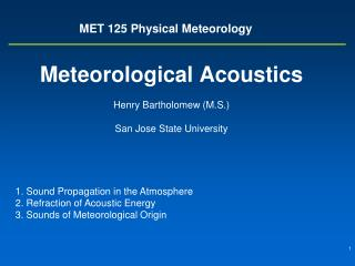 MET 125 Physical Meteorology