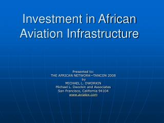 Investment in African Aviation Infrastructure