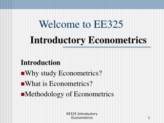 Welcome to EE325