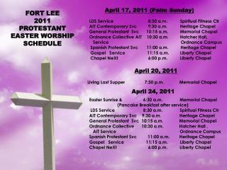 LDS Service           8:30 a.m. Spiritual Fitness  Ctr