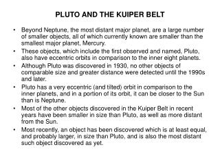 PLUTO AND THE KUIPER BELT