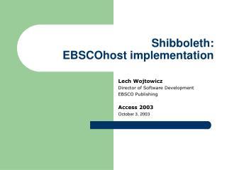Shibboleth: EBSCOhost implementation