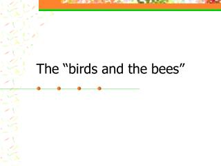"The ""birds and the bees"""