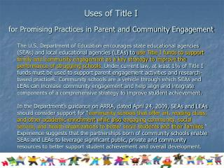 Uses of Title I  for Promising Practices in Parent and Community Engagement