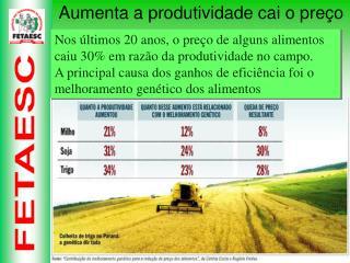 Nos últimos 20 anos, o preço de alguns alimentos caiu 30% em razão da produtividade no campo.