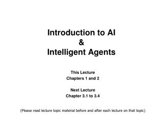 Introduction to AI & Intelligent Agents