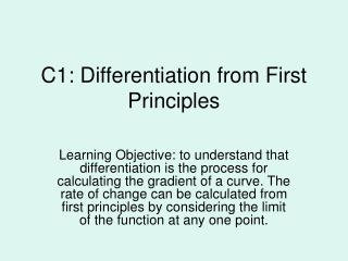 C1: Differentiation from First Principles