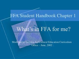 FFA Student Handbook Chapter 1