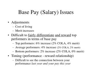 Base Pay (Salary) Issues