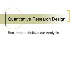 Quantitative Research Design