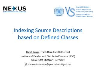 Indexing Source Descriptions based on Defined Classes