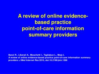 A review of online evidence-based practice  point-of-care information summary providers