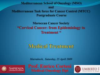 Prof. Enrico Cortesi Medical Oncology Dpt