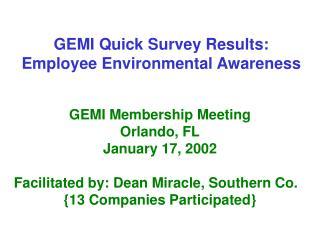 GEMI Quick Survey Results:  Employee Environmental Awareness
