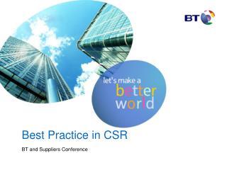 Best Practice in CSR