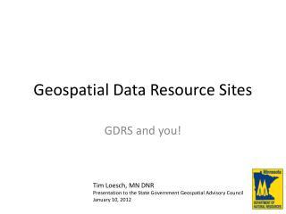 Geospatial Data Resource Sites