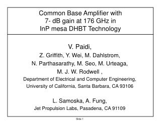 Common Base Amplifier with  7- dB gain at 176 GHz in  InP mesa DHBT Technology