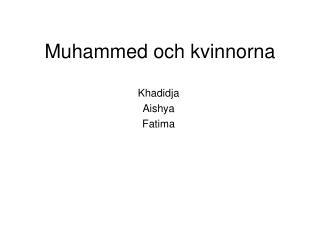 Muhammed och kvinnorna