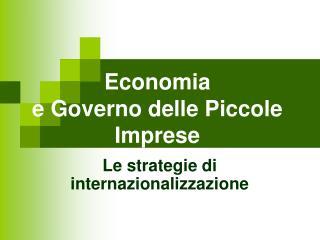 Economia  e Governo delle Piccole Imprese
