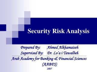 Security  Risk Analysis