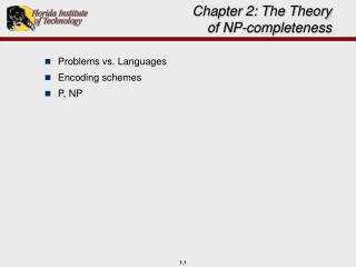 Chapter 2: The Theory of NP-completeness