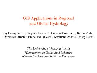 GIS Applications in Regional  and Global Hydrology
