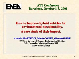 ATT Conference   Barcelona, October 1-3, 2001