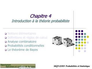 Chapitre 4  Introduction à la théorie probabiliste