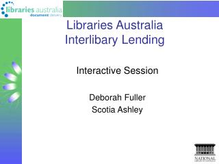 Libraries Australia  Interlibary Lending