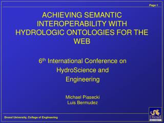 ACHIEVING SEMANTIC INTEROPERABILITY WITH HYDROLOGIC ONTOLOGIES FOR THE WEB