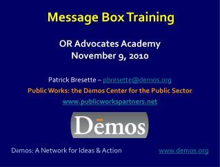 OR Advocates Academy November 9, 2010
