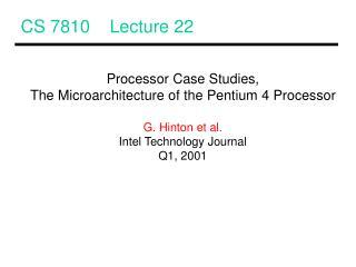 CS 7810    Lecture 22