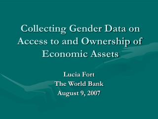 Collecting Gender Data on Access to and Ownership of Economic Assets