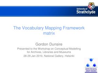 The Vocabulary Mapping Framework matrix