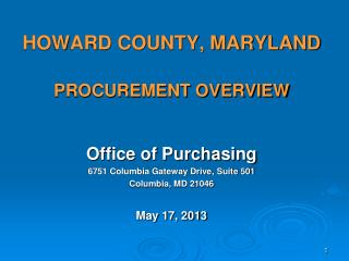 HOWARD COUNTY, MARYLAND  PROCUREMENT OVERVIEW