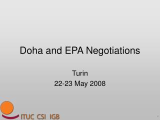 Doha and EPA Negotiations