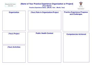 [Name  of Your Practice Experience Organization or  Project]  [ Your Name]