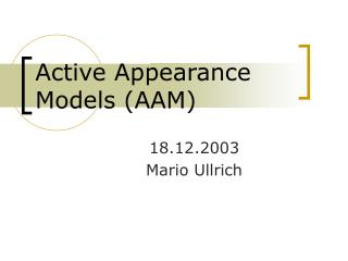 Active Appearance Models (AAM)
