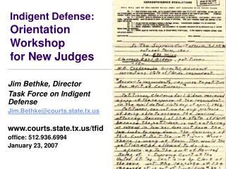 Indigent Defense: Orientation  Workshop for New Judges