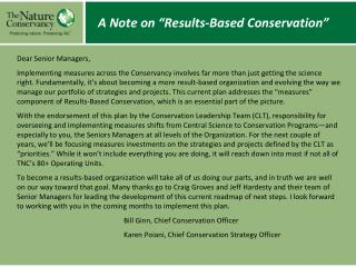 """A Note on """"Results-Based Conservation"""""""