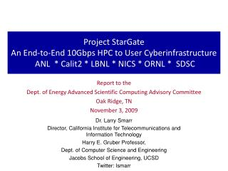 Report to the  Dept. of Energy Advanced Scientific Computing Advisory Committee Oak Ridge, TN