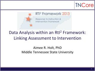 Data Analysis within an RtI 2  Framework: Linking Assessment to Intervention
