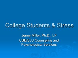 College Students & Stress