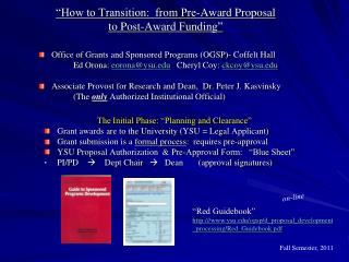 """How to Transition:  from Pre-Award Proposal  to Post-Award Funding"""