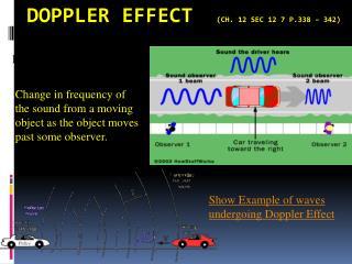 Doppler  Effect   (Ch. 12 Sec 12 7 p.338 – 342)
