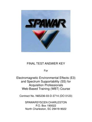 FINAL TEST ANSWER KEY For