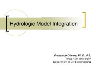 Hydrologic Model Integration