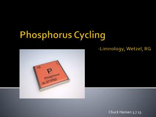 Phosphorus Cycling -Limnology, Wetzel, RG