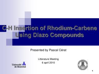 C-H Insertion of Rhodium-Carbene Using Diazo Compounds